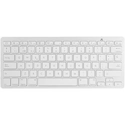 Aukey® KM-B1 Bluetooth 3.0 teclado inalámbrico, teclado de españa universales, QWERTY español,ultra delgado mini teclado para iPhone, iPad e Mac(Blanca)