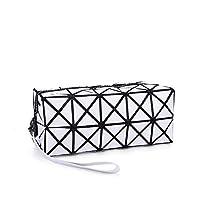 Creativee (White Cosmetic Tote Bag for Makeup, Geometric Foldable Rhombus Folding Grid Cube Handbag, Makeup Tool Storage Pouch Purse Toiletry Bag Organizer