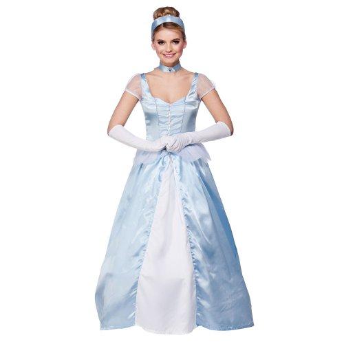 Damen Kostüm Cinderella für Erwachsene, langes Kleid, Outfit EF2138, (Erwachsene Outfit Cinderella)