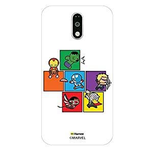 Hamee Original Marvel Character Licensed Designer Cover Slim Fit Plastic Hard Back Case for Motorola Moto G4 Plus / Moto G4 + / Moto G Plus 4th Gen (Kawaii Avengers Blocks)