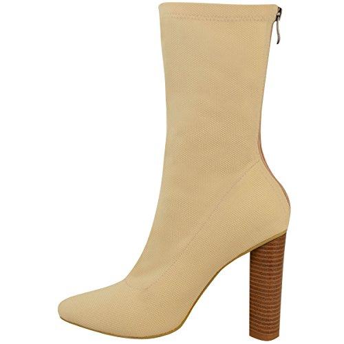 Donna A Maglia Stivali Caviglia Elasticizzato A Blocco Tacchi Alti Celebrità Scarpe Numeri Color Carne Maglia