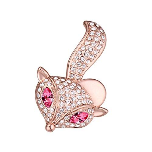 Cute little fox brooch - swarovski elements cristallo austriaco spilla pin personalità gioielli decorazione del partito ornamento,pink-3.7*2.4cm