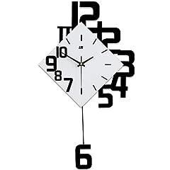 Idea Regalo - LCHHU Orologio da Parete in Legno, Orologio a Pendolo Decorativo Moderno - Muto a Batteria, Orologio da Parete in Legno massello di Grande Formato