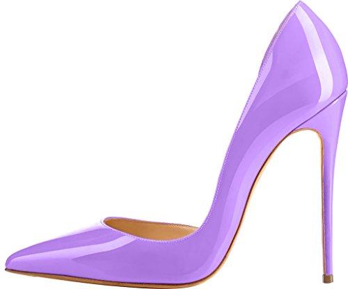 ELEHOT Femme 12cm Taille EU 34-46 ToyIam Aiguille 12CM Synthétique Escarpins Violet
