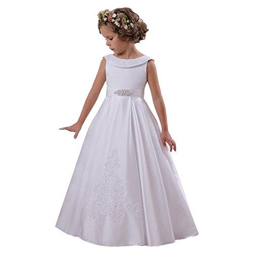 D/H Tüll Blumenmädchen Kleider Kurze Ärmel mit Schärpe Mädchen Festzug Kommunion Kleider für Hochzeit Weiß Größe 12