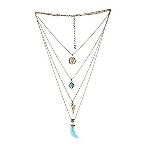 SODIAL(R) Boho Tibetan Silver Turquoise Pendant Chain Bib Collar Multilayer Gypsy Necklace