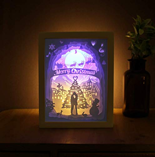 Quadrat Papier Schatten (FFyy Papier Lampe DIY Licht und Schatten Papier schnitzen Lampe dekorative Lampe schnitzen Lichter Romantik handgemachte kreative Nachtlichter)