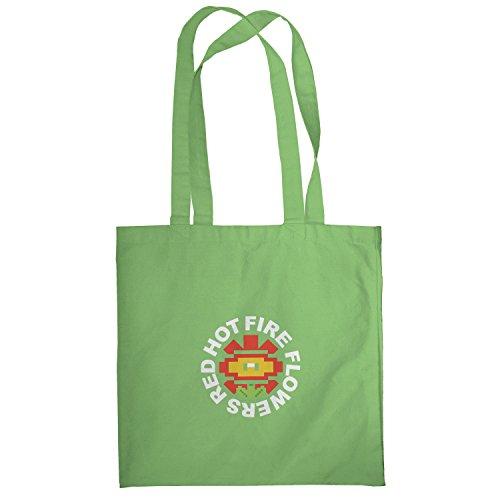 Texlab–Red Hot Fire Flowers–sacchetto di stoffa Verde chiaro