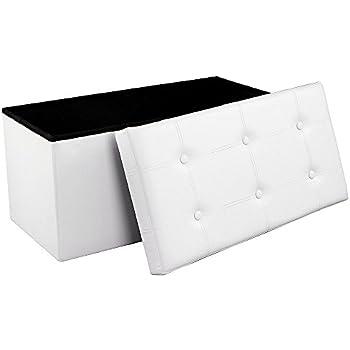 Songmics Coffre Siège de Rangement gain de place Tabouret Pouf Pliable blanc 76 x 38 x 38 cm LSF106
