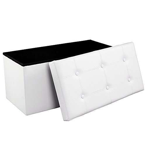 "Songmics Folding Storage Ottoman Bench Foot Rest Stool Seat Versatile Space-saving Faux Leather Max Load 300 kg White 29.9"" x 15"" x 15"" LSF106"