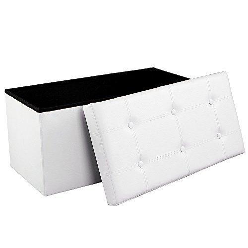 garderobe hocker Songmics Faltbarer Sitzbank, Sitztruhe mit 80 L Stauraum, bis 300 kg belastbar, kunstleder, weiß LSF106