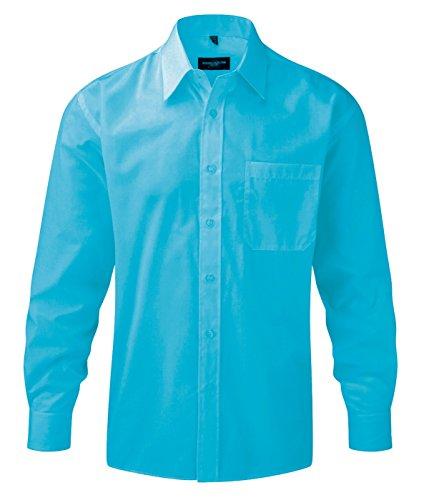 Z934 Langarm Popeline-Hemd Oberhemd Herren Hemd Russell Turquoise