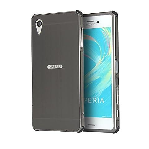 """Coque Xperia X, Etui en premium Aluminium métal miroir, Btduck Luxe Housse 2 en 1(Luxe Stucture en métal Bumper + PC Plastique Arrière Etui)[Étui en Métal Miroir] Anti Choc de Protection Semi-Transparente Coque 2 in 1 Electro Placage Texture Hard Coque Pour Sony Xperia X(5.0"""") + 1X Noir Stylet Touchscreen Pen - Noir"""