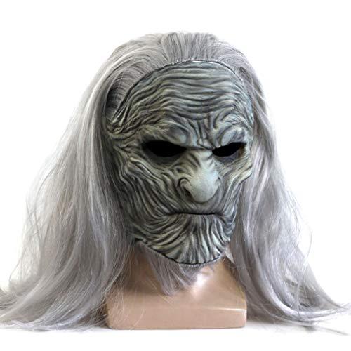 qingning Thrones Nightking Maske Cosplay White Walker Kopfbedeckung Halloween Zubehör (One Size (Kopfbreite : 22