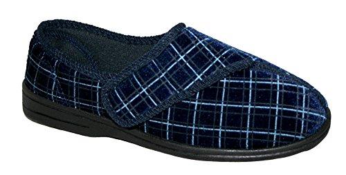 Uomo Blu Marino Regolabile Pantofola Ortopedica EU 42