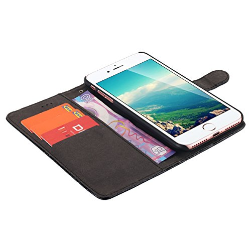 iPhone 7Plus Tablet, iPhone 7Plus Wallet Case Slot Schede, Battito lontect Pelle PU Case con magnetica più sottile Cover posteriore rimovibile per Apple iPhone 7Plus nero