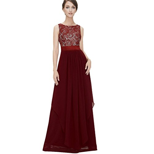 Damen Kleider Yesmile Frauen Lace Blumendruck Gaze Panel Ärmelloses High Low Party Maxi Kleid (Rot, S) (Spitzen-panel Mini)