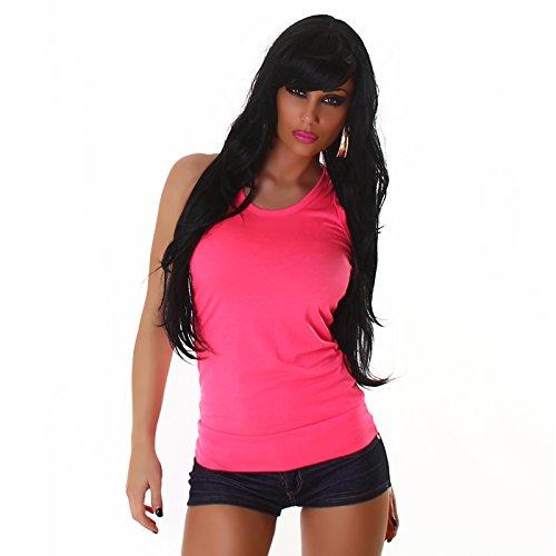Damen Top Shirt Tanktop Sommer Party Sport Schwarz elegant lässig sexy Pink