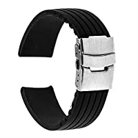 TRUMiRR 18mm Silicone Rubber Watch Band Stainless Steel Buckle Bracelet Strap for Huawei Watch, Asus Zenwatch 2 Women's WI502Q, Withings Activite /Steel/Pop,Straight-Line Pattern