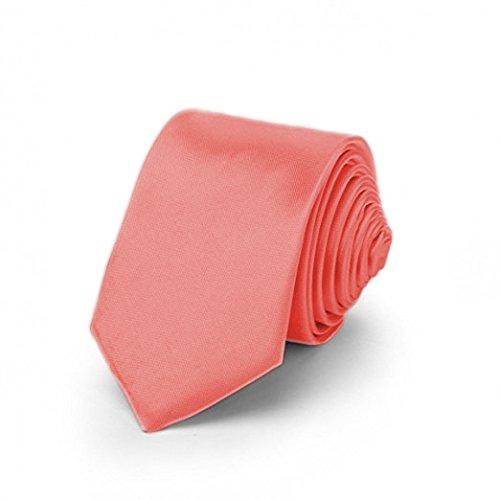 OM3™ K-44 Lachsfarbene schmale Krawatte Herren Smoking Slim Uni Tie Hochzeit Business Schlips dünn Handmade (LACHSROT)