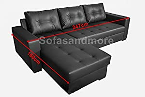 Tommy Brand New Corner Sofa Bed In Black Faux Leather
