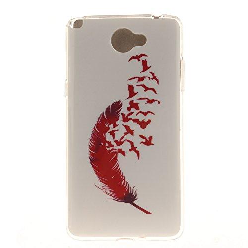Guran® TPU Silikon Hülle für LG Bello II (5 Zoll) Smartphone Gemalt Schutzhülle Cover-Rote Feder