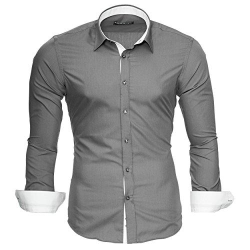 Merish Herren Langarm Hemd Kent Kragen Slim Fit Kontrastfarben Modell 202 Grau