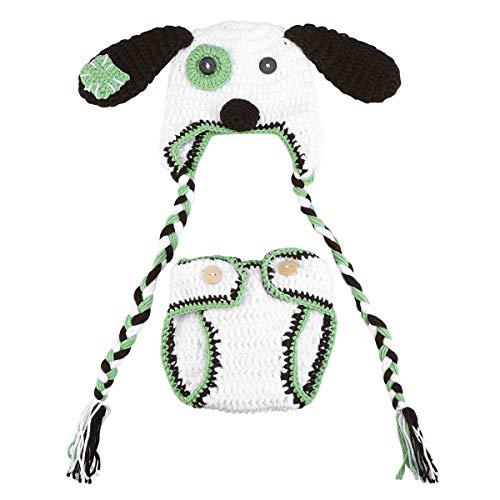LUOEM GCID Neugeborenes Baby Fotografie Prop Häkeln Hüte Hund Kostüm Outfits Kleinkind Photoshoot Sets (Kleinkind Kostüm Hund)