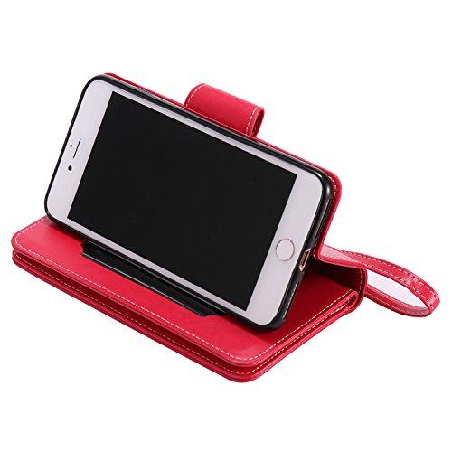 Cover per iPhone 7 Plus Zipper,Custodia per iPhone 8 Plus ,Bonice Premium Pelle Portafoglio Staccabile Detachable Removable Folio Protettivo Case Multiplo Card Slots Extra Multifunzionale Slot per Car Pattern 36