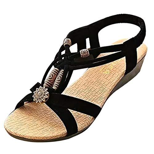 SHE.White Boho Perlen Damen Sandalen Flache Unterseite Gummiband Atmungsaktiv Römische Sandalen -