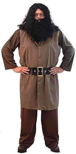CL COSTUMES Kostüm Kleid-Welt Buch Tag-Halloween-Zauber-Assistenten Schule Herren Hagrid Riese - Von Größen klein-4XL - Men: (Herren Kostüm Assistent)