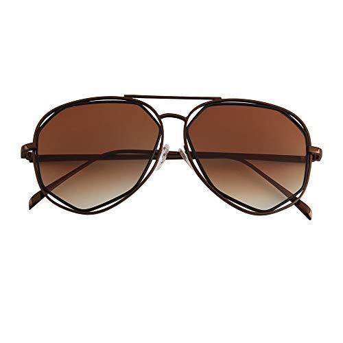 LKVNHP gespiegelt Metall Sonnenbrillen Sonnenbrillen für Männer, Frauen, Designer-Gläserbraun