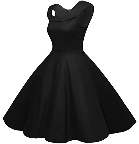 Bbonlinedress 50s Vintage Retro U-Ausschnitt Rockabilly Cocktail Party Kleider Black 3XL -