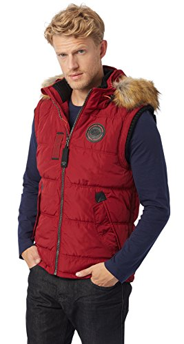 Tom Tailor Padded with Hood, Veste sans Manche Homme, Knitted Navy Rouge