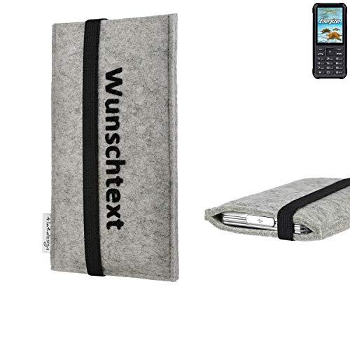 flat.design Handy Hülle Coimbra für Energizer H20 maßgeschneiderte Handytasche Filz Tasche Case schwarz grau