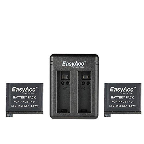 EasyAcc® 2 x 1160 mAh GoPro Hero 4 Akku Camera Akku und Schnelladegerät Kit für GoPro HERO4