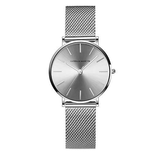 Hannah Martin Damen Uhren Analog Quarz Edelstahl Armband Wasserdicht Mesh Ultradünne (Silber)