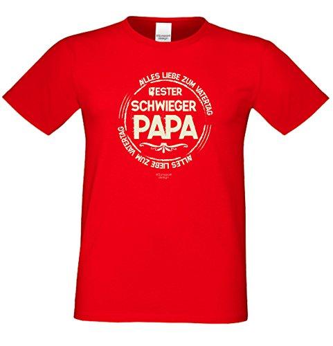 Sprüche-Fun-T-Shirt als Weihnachtsgeschenk für Ihren Papa Schwiegervater Bester Schwiegerpapa auch in Übergrößen 3XL 4XL 5XL in: rot Rot