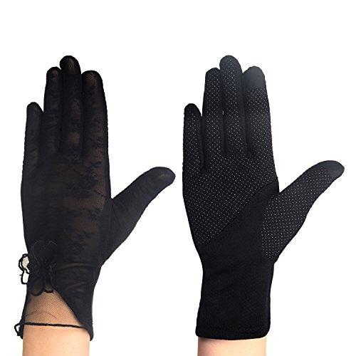 Eizur Frauen Sommer Sonne Schutz Spitze Touchscreen Handschuhe Driving Handschuhe Ice Seide Rutschfest dünn atmungsaktiv UV-Schutz Hochzeit kurz Handschuhe, Color C-Black - Kid Leder Fahren Handschuhe