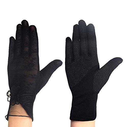 Eizur Damen Sonnenschutz Driving Handschuhe Touchscreen Fahrradhandschuhe Hochzeits Handschuhe Sommer UV-Schutz Lace Fäustlinge 4 Typen Optional (Dünne Leder-handschuhe)