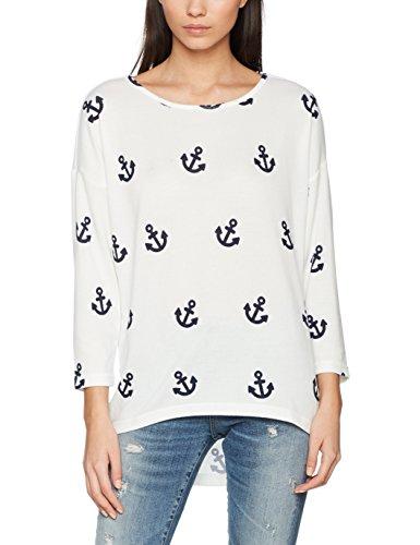 ONLY ONLY Damen Bluse onlELCOS 4/5 AOP TOP JRS NOOS 15144286, Gr. 34 (Herstellergröße: XS), Mehrfarbig (Cloud Dancer AOP:Blue Anchor)