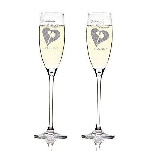 Deux flûtes LEONARDO Cheers Gravure motif : tanzendes Paire dans le cœur