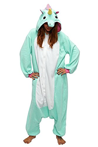 Très chic mailanda pigiama donna uomo unicorno cosplay animato costume camicie da notte carnevale halloween xl (per altezza 178-188cm), verde chiaro unicorn