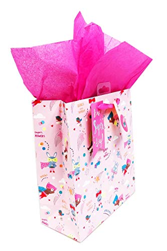 Geburtstagsgeschenktüte für Kinder und Mädchen, XL, groß, mittelgroß, Tiermotiv, Rosa, 1 x Medium (W-8.5x L-10x ()