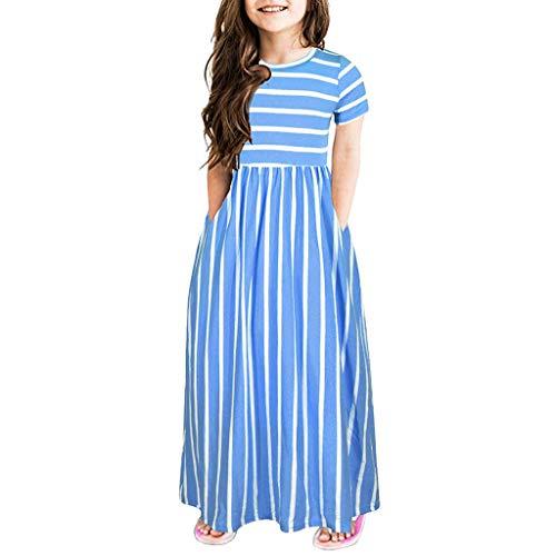 Livoral Baby Born Surprise Kleinkind Baby Mädchen Kurzarm Striped Print Kleid Kinder Kleider Kleidung(Blau,10)