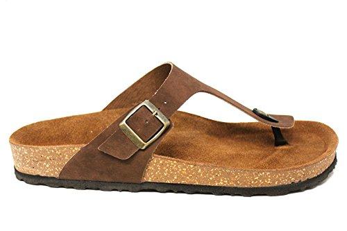 Inblu Herren Toepost Fußbett Schnalle Sommer Strand Flach Sandalen Größe UK 6–12 Braun
