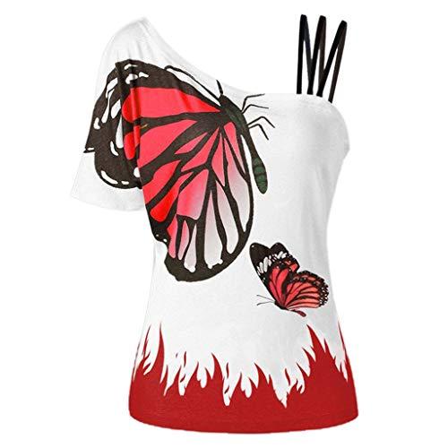 JYJM Frauen Sommer Bluse Sexy Eine Schulter Freizeithemd Schmetterlings Druckhemd Kurzarm Mode Casual Bluse Outdoor Strand Atmungsaktiv Tops