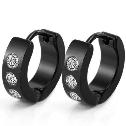 JewelryWe Gioielli Tre-Circle strass unisex cerchio di Huggie Orecchini in acciaio inossidabile nero (un paio)