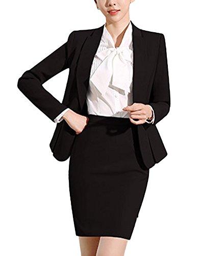 SK Studio Damen Rock Anzugjacke Slim Fit Einfarbig Karriere Rock Anzug Sakko Schwarz 40 Tag 2XL (Rock Anzug)