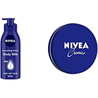 Nivea Nourishing Lotion Body Milk With Deep Moisture Serum And 2x Almond Oil for Very Dry Skin, 400ml & NIVEA Crème, All…